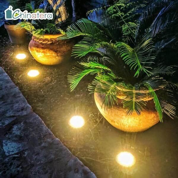 [Chinatera] 4 Chiếc 16 LED Mặt Trời Chống Nước Chôn Đèn Cầu Thang Lối Đi Ngoài Trời Vườn Dưới Mặt Đất Đèn Thảm Cỏ