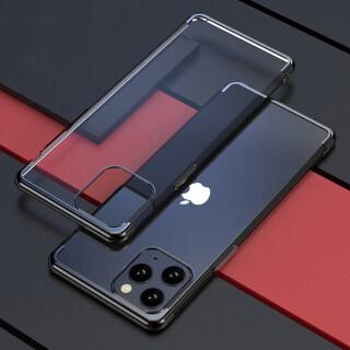 Dành Cho Apple iPhone 11 Pro 11 Pro Max Ốp Dẻo TPU Mềm Dẻo Tinh Thể Rõ Ràng Trở Lại, Ốp Điện Thoại Viền Kim Loại Sang Trọng thumbnail