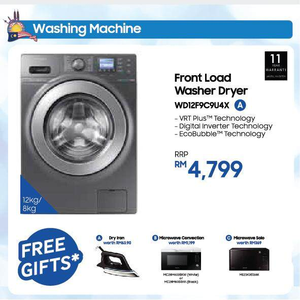 Front Load Combo Washer with Eco Bubble, 12kg wash & 8kg dry (WD12F9C9U4X)