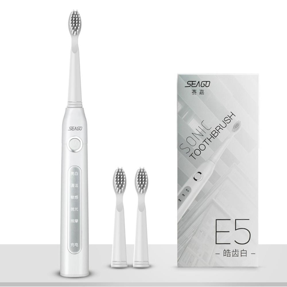 Seago Sg-507 Usb Rechargeable Electric Toothbrush Adult Waterproof Deep Clean Teeth Brush 2 Replacement Heads 5 Cleaning Modes