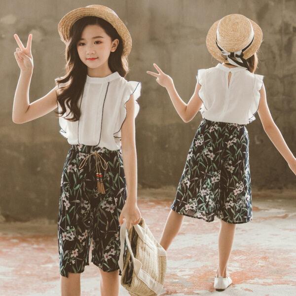 Giá bán PearlPiggy Áo Vest Nữ Cổ Tròn Mới 2021 + Bộ Váy Dài Chữ A, Phiên Bản Hàn Quốc Của Các Bé Gái Lớn Quần Áo Thủy Triều Thường Ngày Không Tay