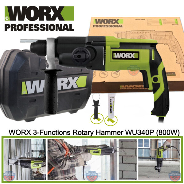 WORX WU340P 800W 3-Functions Corded Rotary Hammer Drill
