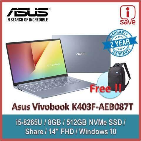 Asus Vivobook K403F-AEB087T 14 FHD Laptop Sliver Blue ( I5-8265U, 8GB, 512GB SSD, Intel, W10 ) Malaysia