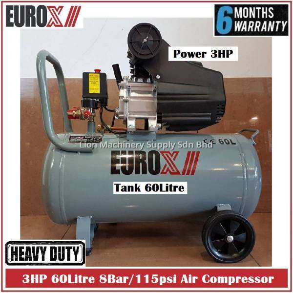 EuroX 3HP 60L 8bar/115psi Direct Drive Air Compressor EAX3060 - 6 Months Local Warranty -