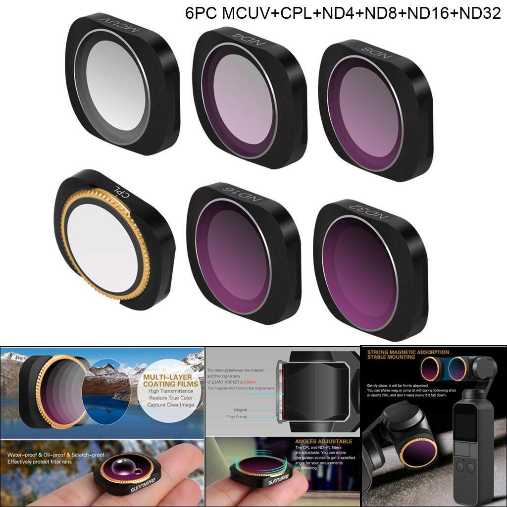 Docesty 6pc Mcuv+cpl+nd4+nd8+nd16+nd32 Camera Lens Filters For Dji Osmo Pocket By Docesty.