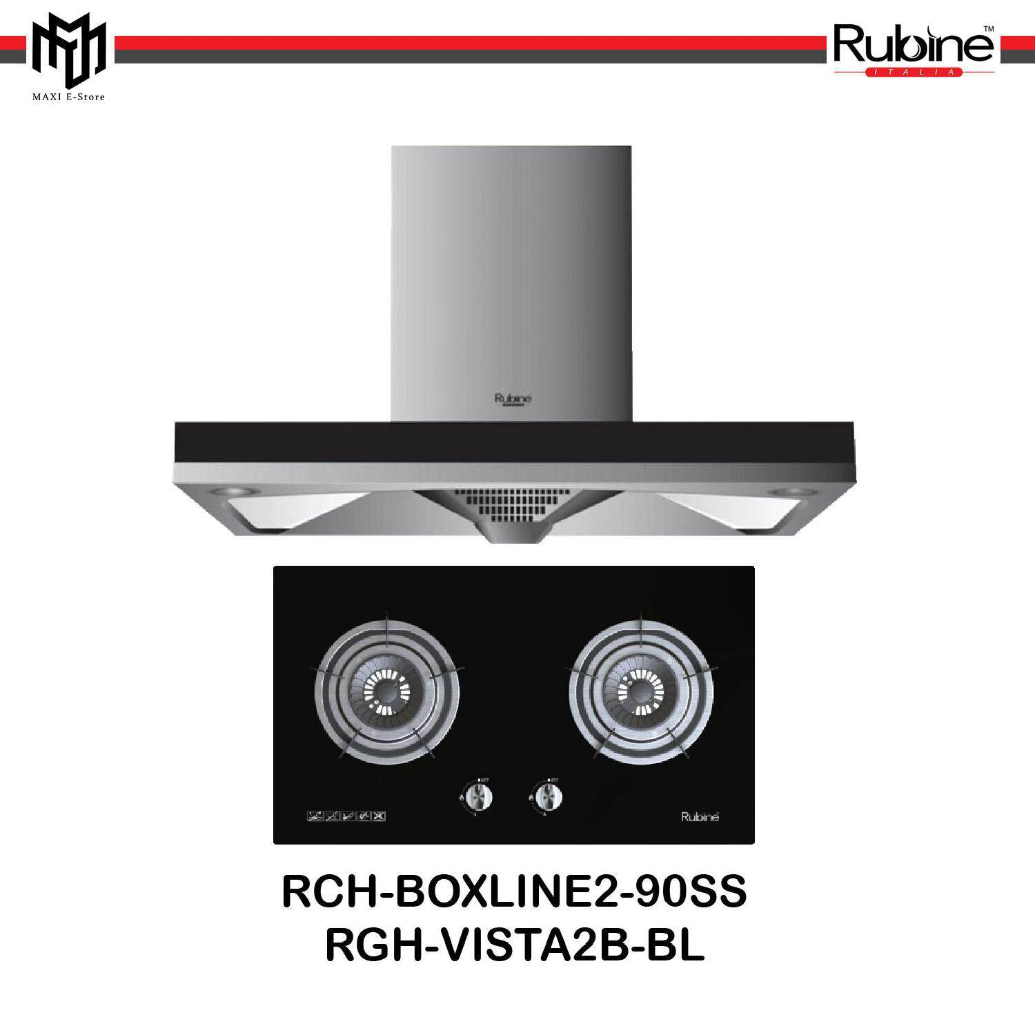 Rubine Designer Chimney Cooker Hood 1100m3 Hr Built In Gas Hob 2