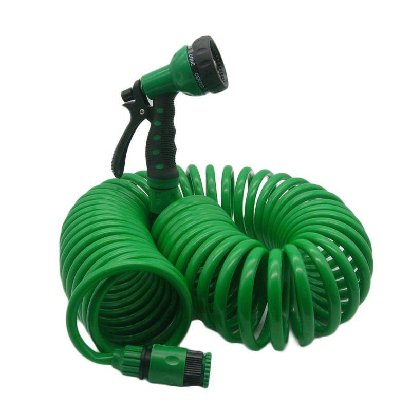 Tool Nest Lawn Garden Hose 10m Retractable Garden Green Flexible Coiled Car Washing Water W/ Spray Nozzle Yard Spiral Auto Hot