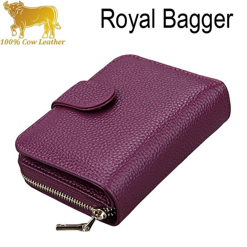 Royal Bagger RFID Italian 100% Genuine Cowhide Purse Womens Short Wallet Elegant Unisex Multi-Card Multi-Function Wallets Card Driver License Bags Fashion For Ladies Girls
