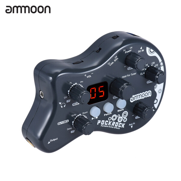 【Ready Stock】ammoon PockRock Portable Guitar Multi-effects Processor Effect Pedal 15 Effect Types 40 Drum Rhythms Tuning Function with Power Adapter Malaysia