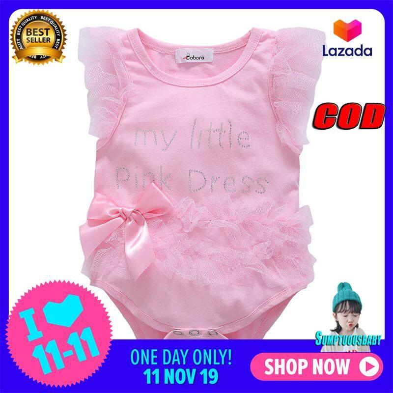 Giá bán 0-12Months Quần Áo Bé Gái Ren Nữ Tay Ngắn Chữ Baby Rompers Sơ Sinh Đạo Cụ Đầm Trẻ Sơ Sinh Áo Liền Quần