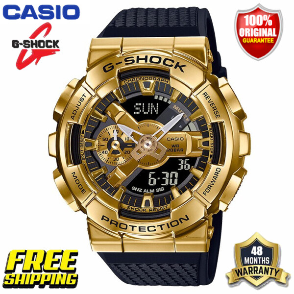 Original G-Shock GM110 Men Sport Watch Japan Quartz Movement Dual Time Display 200M Water Resistant Shockproof and Waterproof World Time LED Auto Light Sports Wrist Watches with 4 Years Warranty GM-110G-1A9 (Free Shipping Ready Stock) Malaysia