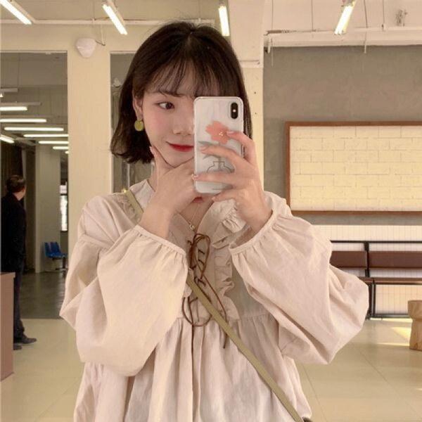 MALISA Thu Thập Băng Hàn Quốc Áo Cánh Tay Đèn Lồng Nữ Ngọt Ngào Áo Sơ Mi Giản Dị Hàng Đầu