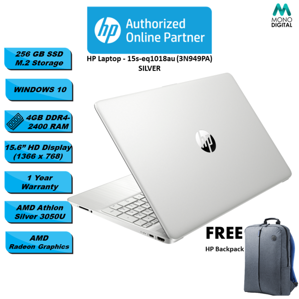HP Laptop 15s-eq1017au/ 15s-eq1018au- AMD Athlon™ Silver 3050U/ 4GB SDRAM/ 256GB SSD/ WIN 10/ 15.6 HD (3N935PA/ 3N949PA) [FREE Laptop Bag] Malaysia