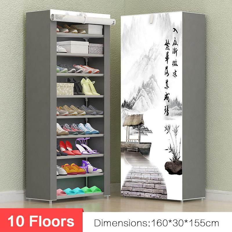 10 floors Shoe Rack Wall Shelf Closet Organizer Storage Box Stand + Cover