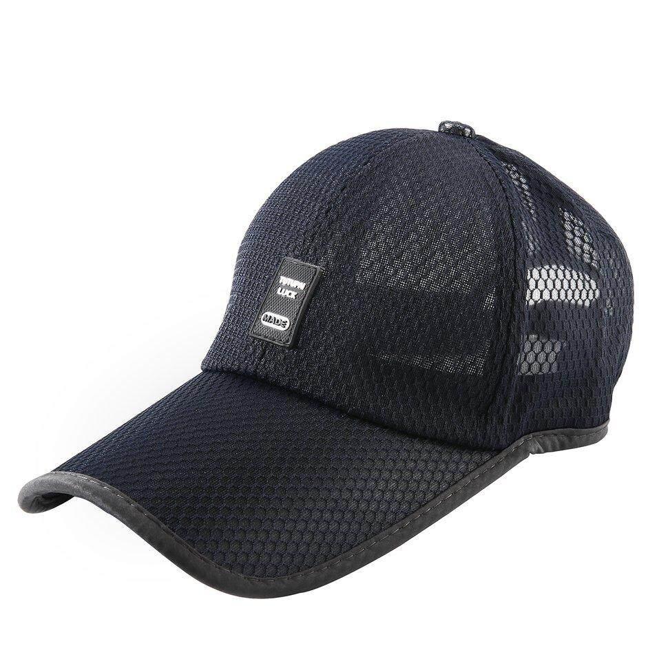 UINN MADE Men Baseball Cap Polyester Fiber Solid Warna Mesh Outdoor Sun  Teduh Cap Navy Blue 0d7f514430