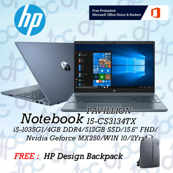 HP Pavilion 15-cs3134tx Fog Blue 15.6 FHD IPS Laptop ( i5-1035G1, 4GB, 512GB SSD, MX250, W10 ) Malaysia