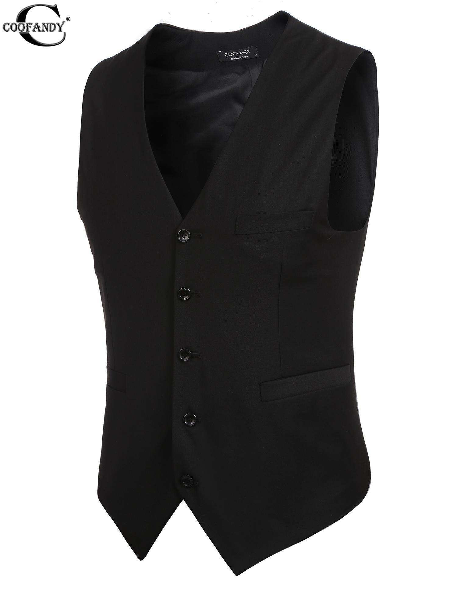 0bb4f9c6 COOFANDY Men 5 Buttons V-Neck Sleeveless Slim Fit Formal Business Wasitcoat  Vests