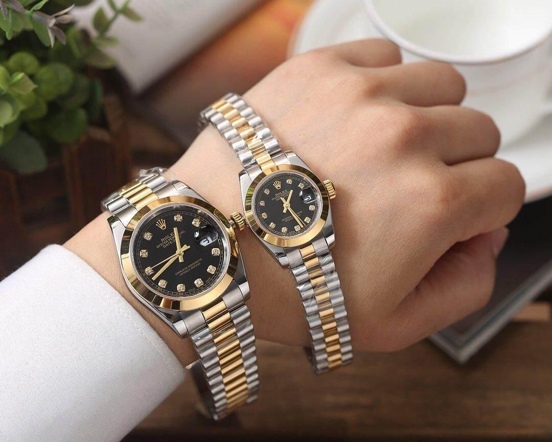 Rolex_Watch Fashion Bisnis Sederhana Kasual Kepribadian Baru 2019 Hitam Panggil Gold Dezel Tali Baja Tahan Karat 30 Mm Tahan Air Kuarsa Jam Tangan Movement untuk Wanita