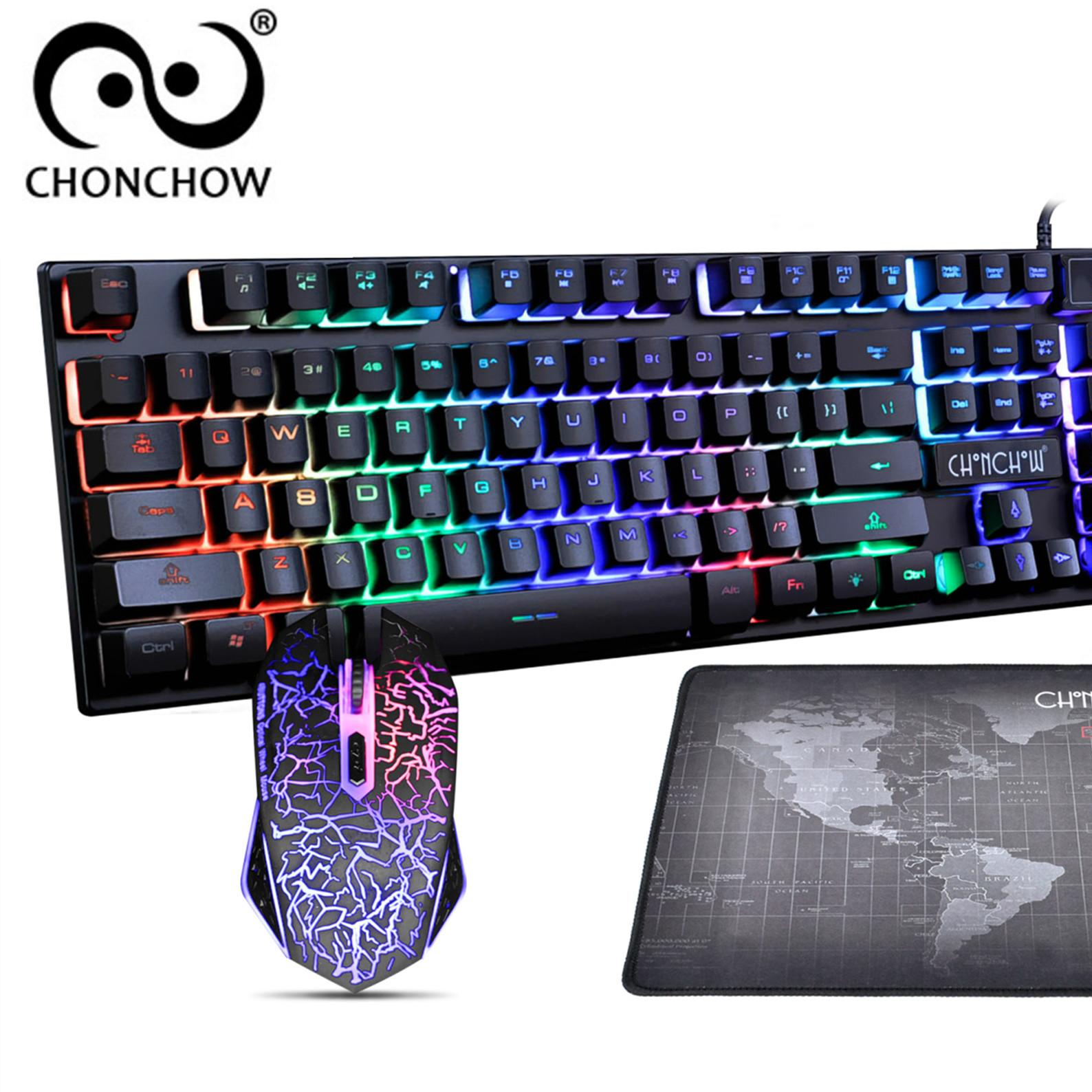 CHONCHOW LED Backlit Usb Wired Gaming Keyboard and Mouse combo 1911B(Black and 7color LED)【Free Shipping】