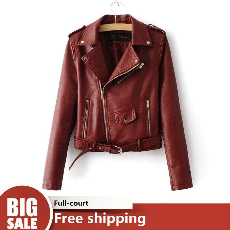454d98755a155 TF Fashion Faux Leather Jackets for women European and American style Slim  short long sleeve zipper