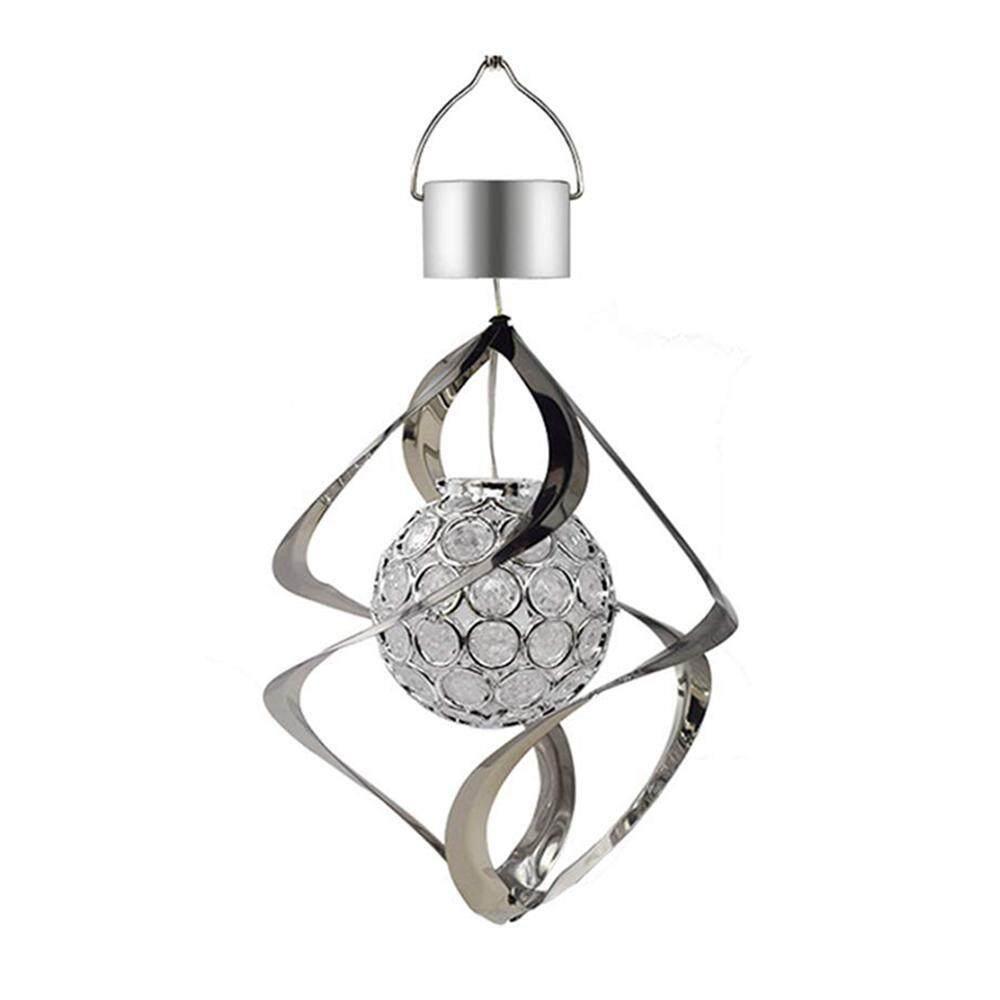 Nicetoempty LED Tenaga Matahari Angin Lampu Lonceng Taman Gantung Spinner Warna Lampu Dekoratif Yang Berubah Kerajinan
