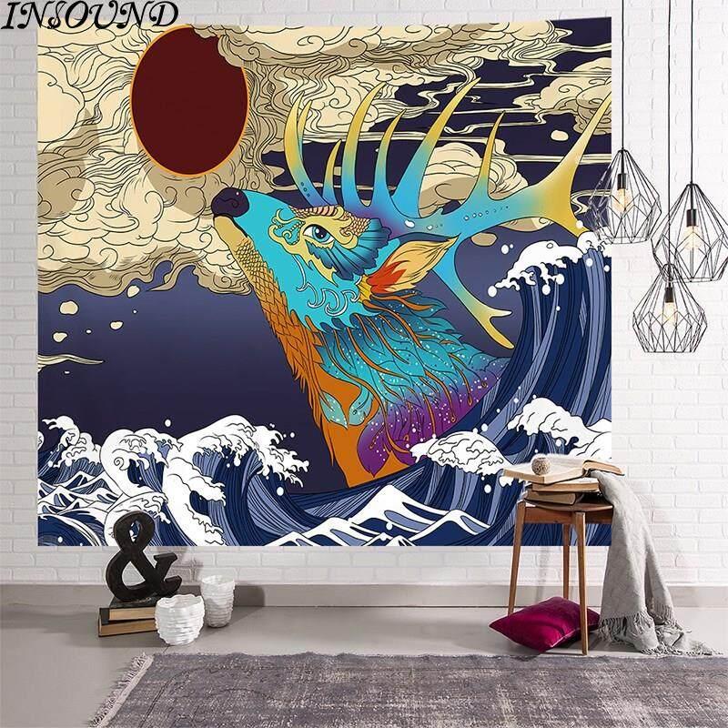 Tấm Thảm INSOUND Treo Tường Tấm Thảm Sóng Lớn Chăn Treo Tường Tấm Thảm Vải Nền Nhật Bản Kanagawa Surf...