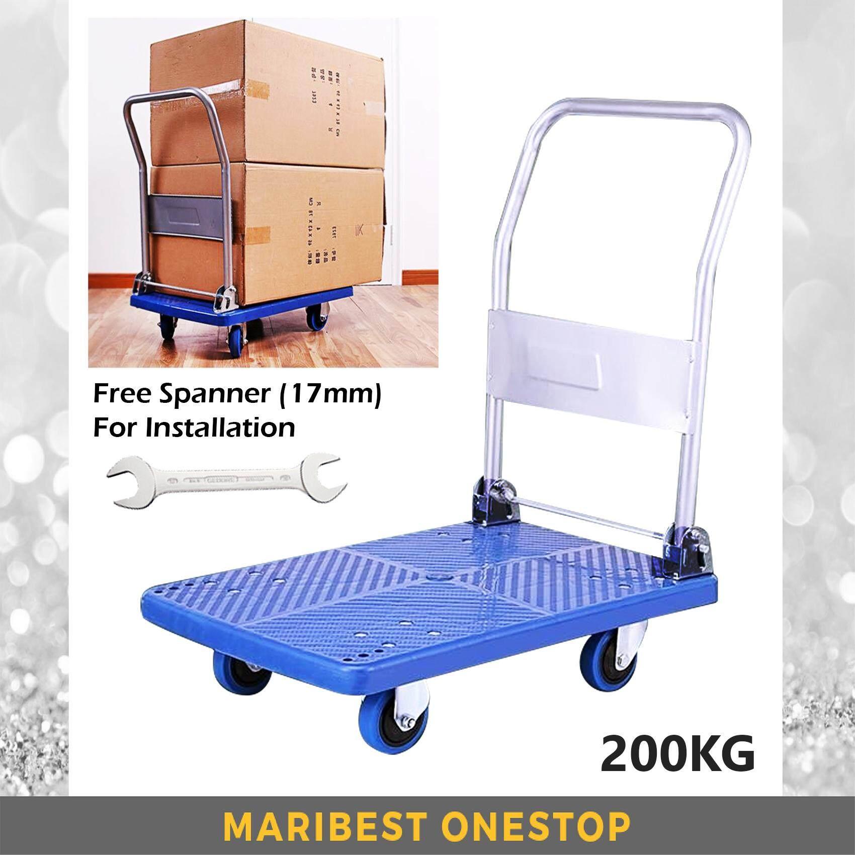 Heavy Duty PVC Foldable Trolley Platform Cart Hand Truck Trolley Capacity 200KG