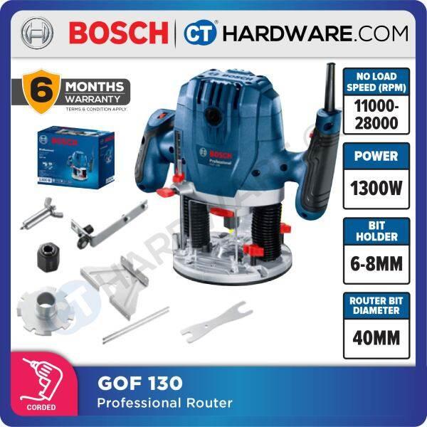 BOSCH GOF 130 PROFESSIONAL ROUTER 6-8MM ( 1/4 ) 1300W 06016B70L1 55MM PLUNGE DEPTH 11,000-28,000 RPM (GOF130)