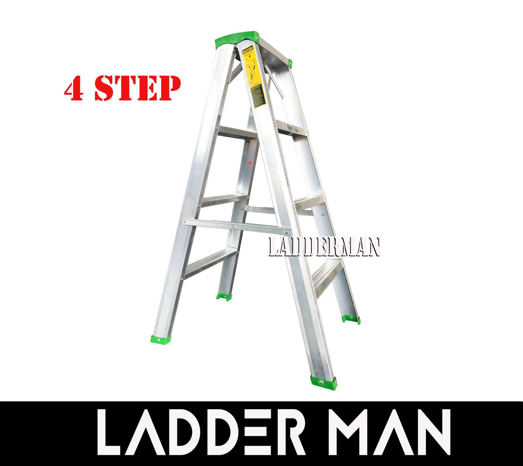 "STRONGMAN DS4 37"" ALUMINIUM DOUBLE SIDED 4 STEPS LADDER"