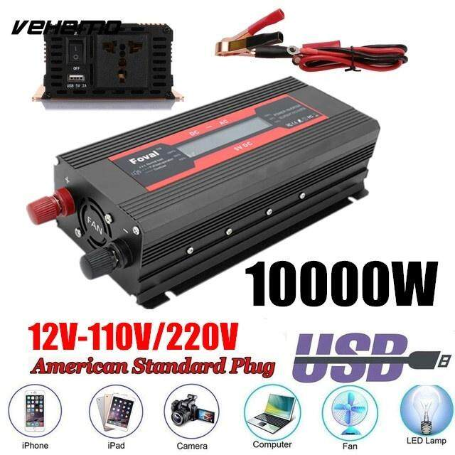 Outdoor Modified Sine Wave Converter New 10000w/5000w/3000w Dc12v/24v To Ac110v/220v High Performance Portable Led Vehicle Adapter Car Solar Power Inverter
