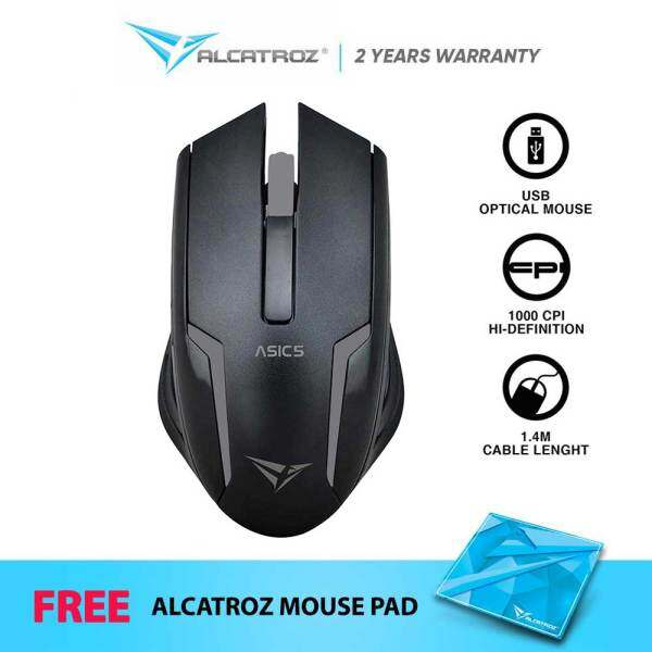 Alcatroz Asic 5 High Resolution Optical USB Wired Mouse | 1000 CPI | 3 Button | Free Mouse Mat Malaysia