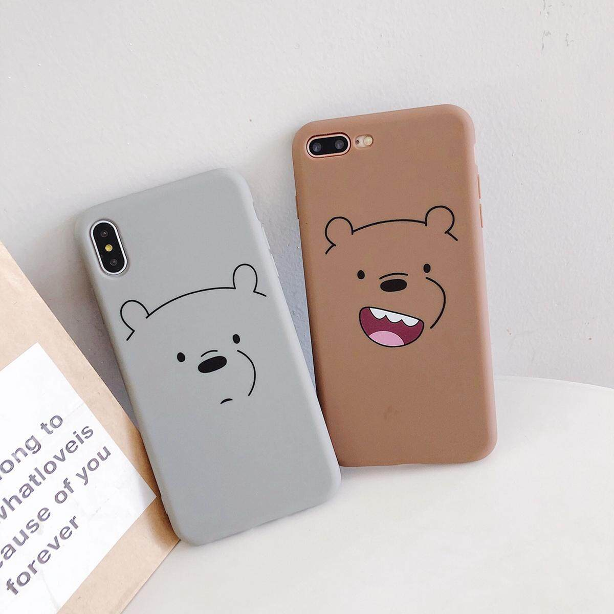official photos de5e6 0d605 Cute cartoon We Bare Bears Phone Case For iPhone XS MAX XR X 6 6s 7 8 Plus  Fun Pattern Paint Couple Soft TPU Back Cover Case Shell