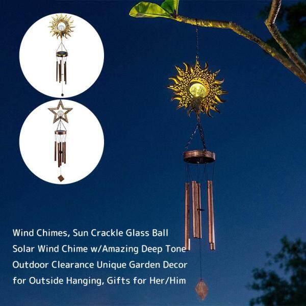 Sympathy Wind Chimes Hanging Decor Solar Wind Chimes for Outside Sun Crackle Glass Ball Warm Led Solar Garden Lights Waterproof Sympathy Wind Chime with Amazing Deep Tone Outdoor Metal Outside Garden Decor Lawn Decor