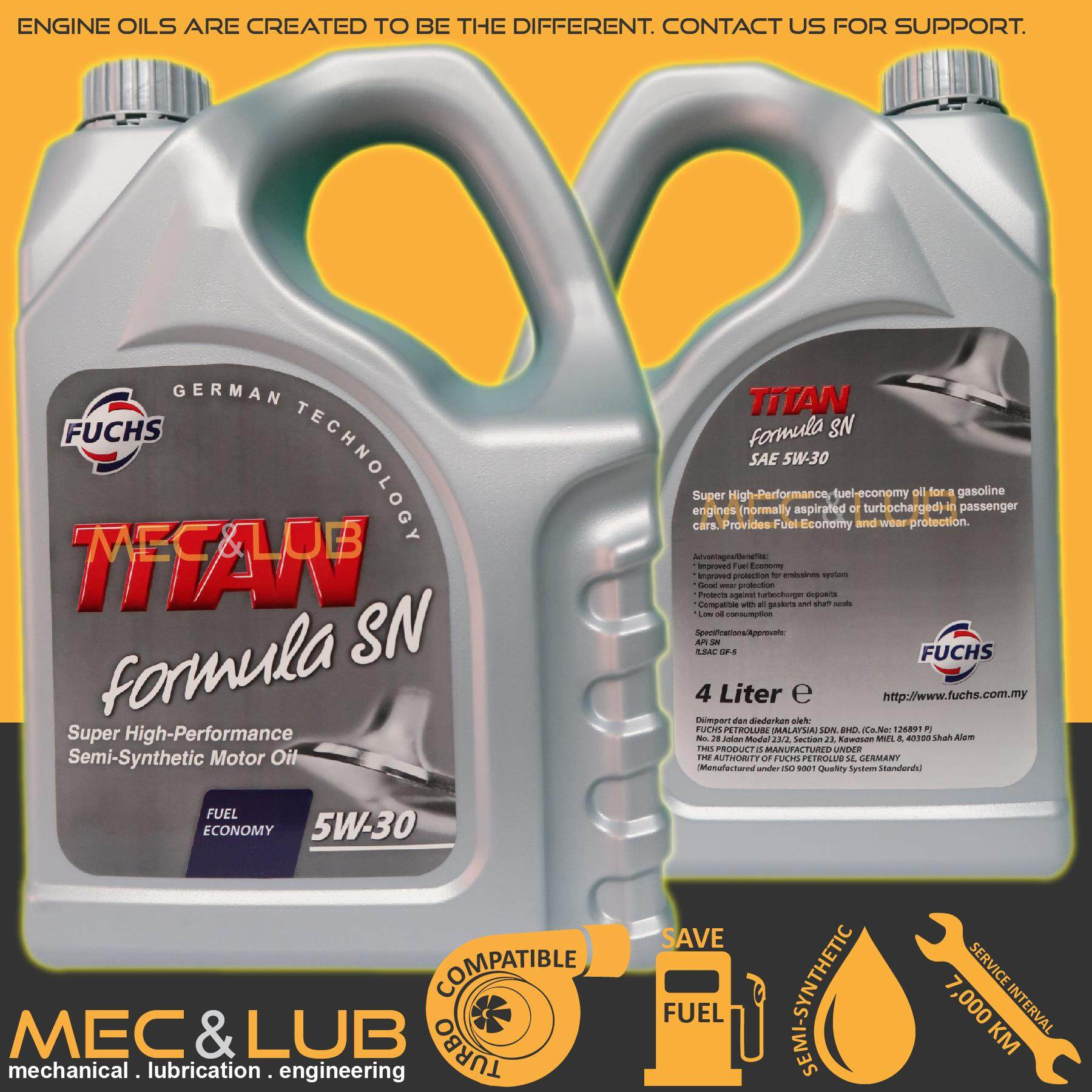 Harga rendah Fuchs Titan Formula SN Semi-synthetic Engine Oil SAE 5W