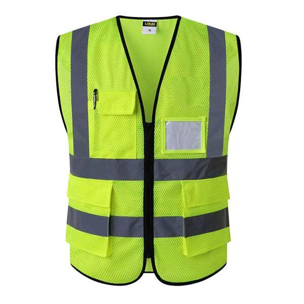 Loviver Reflective Safety Vest Engineer Construction Gear With Pockets, Folds small enough to fit in your coat pocket or bag