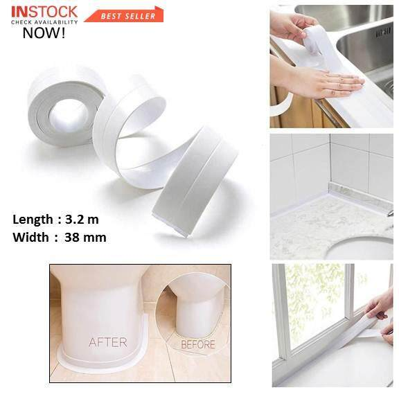 3.2 Metre PVC Anti Leak/Dirt Kitchen Bathroom Waterproof Strip Tape(White)(38mm)
