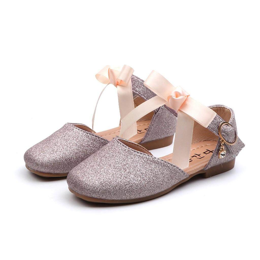 e47e4949e9f3 Rayeshop Infant Kids Baby Girls Bowknot Bling Sequins Dance Sandals Princess  Casual Shoes Reference EU