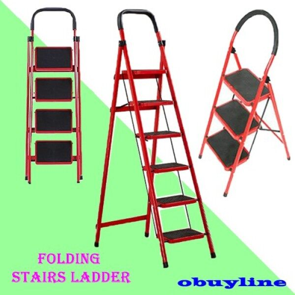 ♘  7 STEP Folding Stairs Ladder Household Indoor Herringbone Thickened Pedal Steel Pipe Telescopic Moving Move Tangga