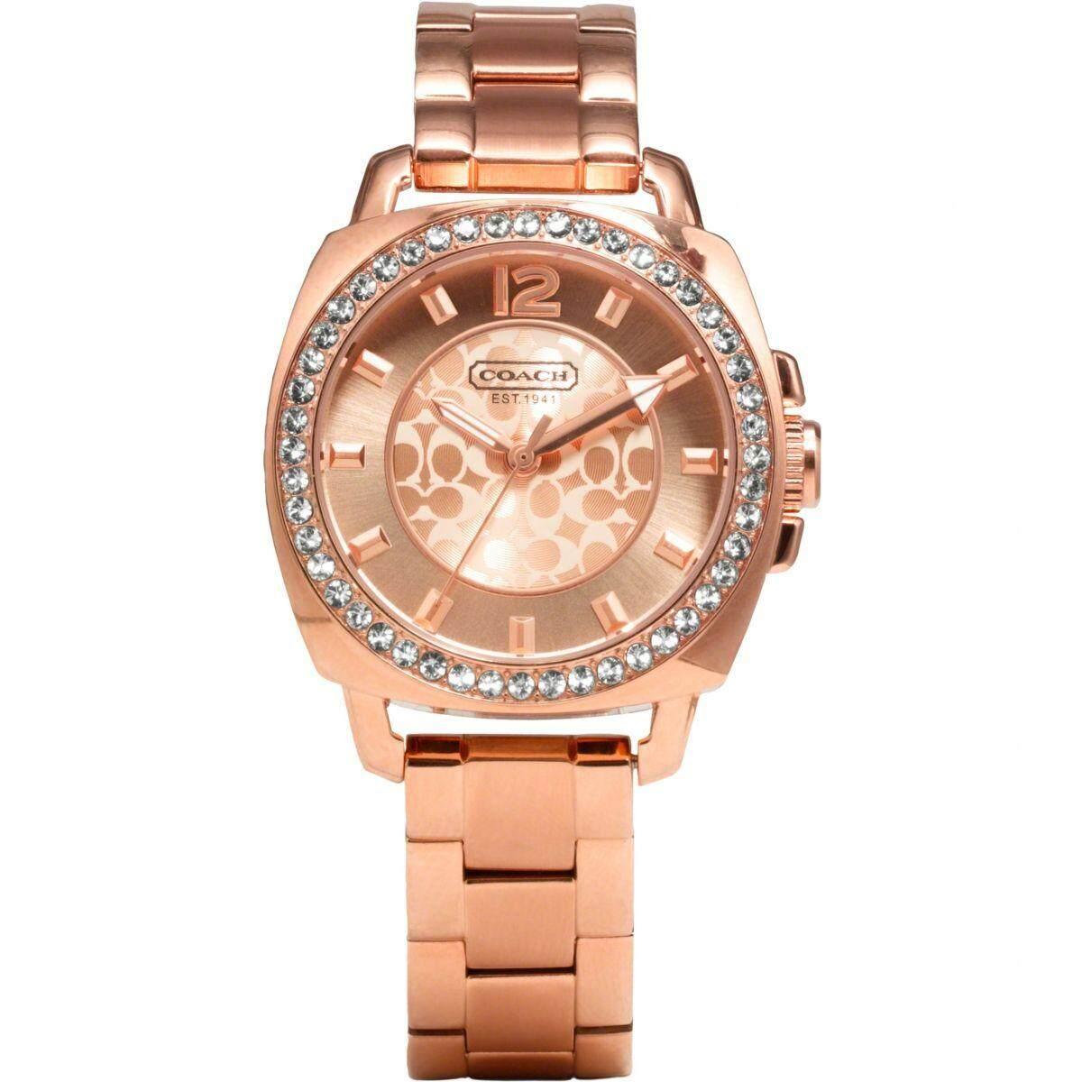 Original Coach Womens Mini Boyfriend Rose Gold Crystal Glitz Watch 14501701 with 2 Years Warranty Malaysia