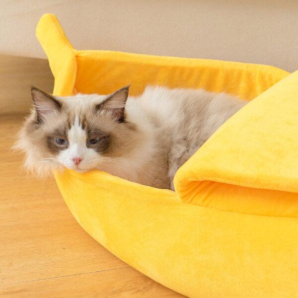 Nhà Giường Cho Chó Mèo Thú Cưng Hình Quả Chuối Thảm Mèo Ấm Cúng Dễ Thương, Giường Ấm Áp Di Động Cho Thú Cưng Giỏ Đệm Cũi Chó