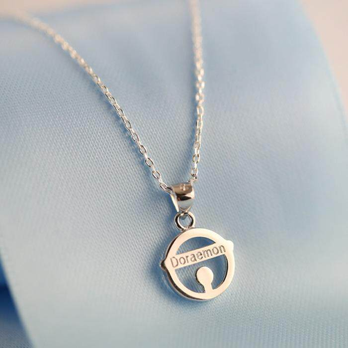 Bell Biru Gemuk Jingle Mesin Kalung Kucing Rantai Klavikula Kartun Lucu 925 Perak Sterling Aksesoris Hadiah Wanita