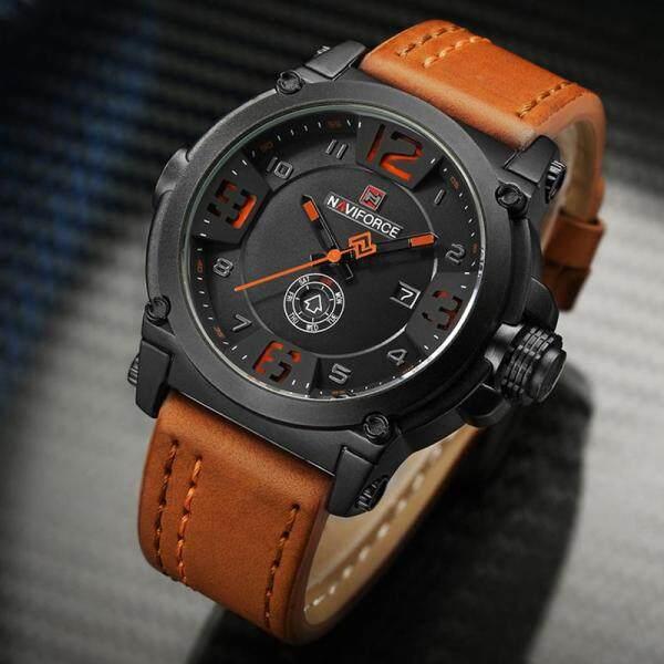 NAVIFORCE Luxury Mens Fashion Quartz Watches Mens Casual Sports Leather Strap Waterproof Watch Automatic Date Creative Men Watch Malaysia