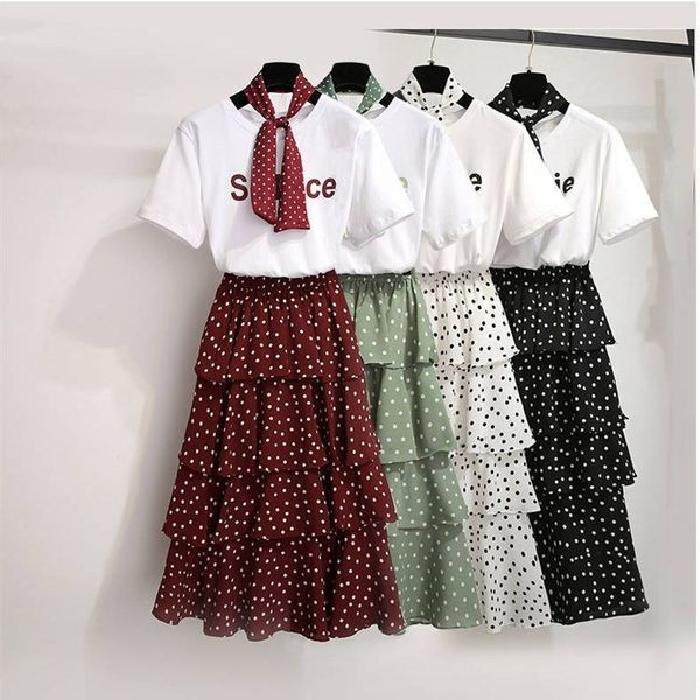 30248c74c196 Miorie Two Piece Casual Top With Layered Polka Dot Skirt Women Dress