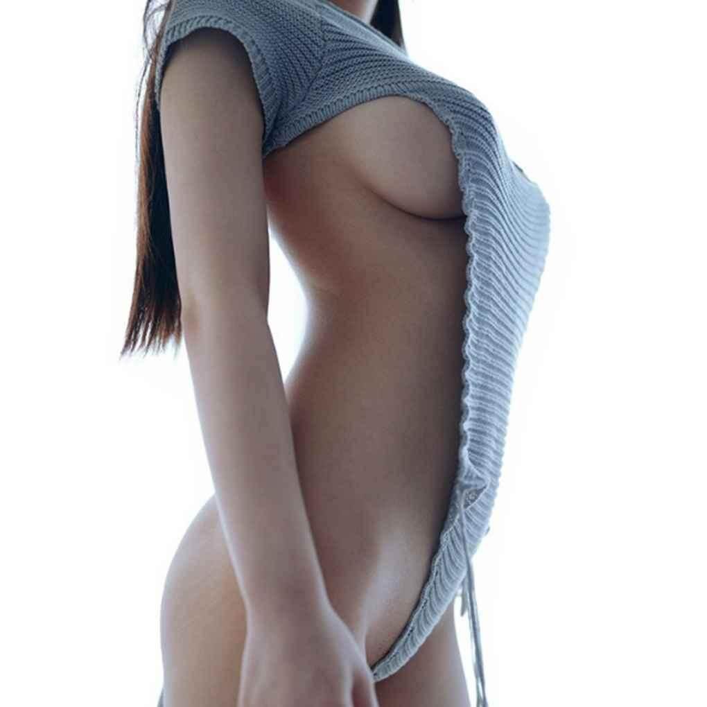 Sexy Hộp Đêm Rỗng Ra Trinh Nữ Sát Thủ Áo Len Hở Lưng Thắt Dây Áo Thun Chui Đầu Hàng Đầu