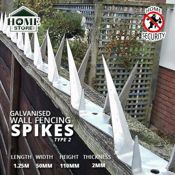 Home Store Galvanised Security Wall Fencing Spikes Type 2 1.25M (L) x 45MM (W) x 85MM (H) x 2MM (T)
