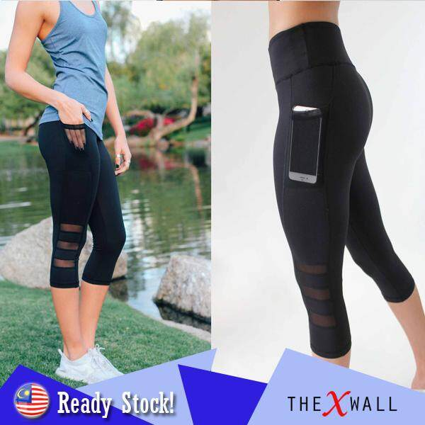 c2cd9dfef113 [LOCAL] 3/4 Length Leggings for Women with Pockets Cropped Gym Trousers  Sports
