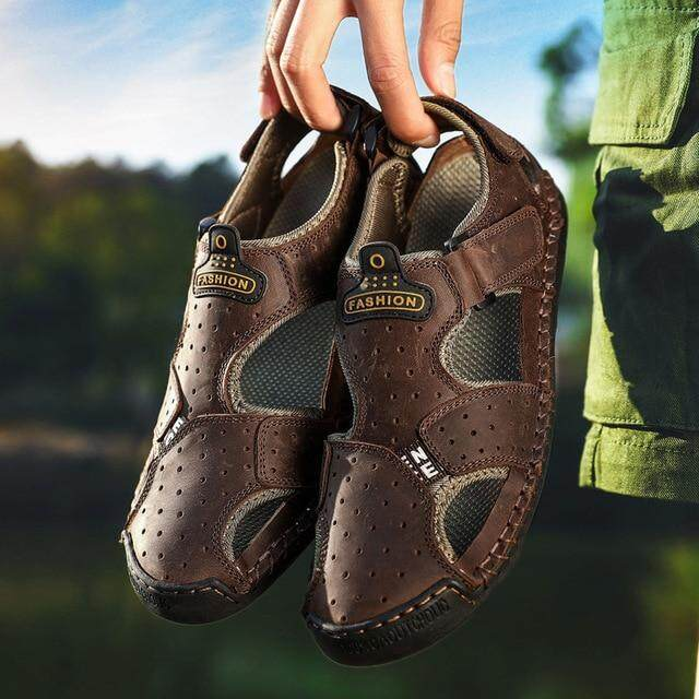 d54a9850e8dbb 2019 New Casual Men Sandals Comfortable Men Summer Genuine Leather Sandals  Men Roman Summer Outdoor Beach Sandals Big Size 38-48