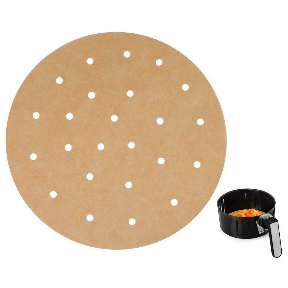 100pcs Unbleached Air Fryer Liners,22.8cm Bamboo Steamer Liners,silicone Oil Paper Rounds Perfect For 5.3 & 5.8 Qt Air Fryers/baking/ Cooking By Dragonlee.
