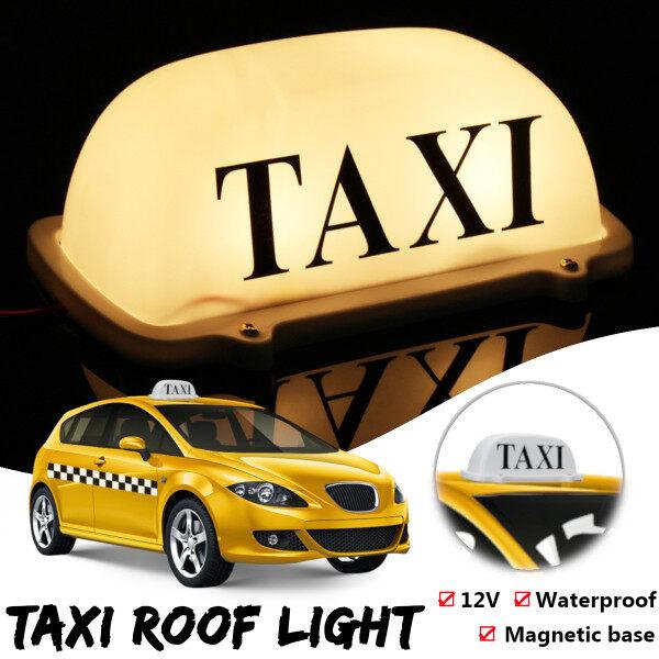 Đèn Vàng Đế Nam Châm Không Thấm Nước Taxi Trên Nóc Xe Cab Biển Hiệu LED Lam