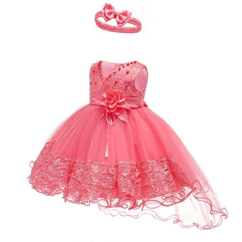 3e3c66eef Baby Girl Dress Flower Christening Gown Baby Girls 1st Years Birthday  Vestido Lace Trailing Little Baby